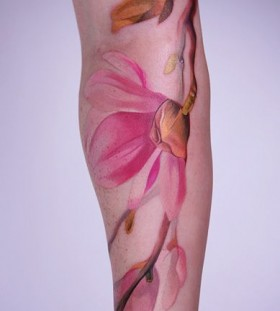 Beautiful flower tattoo by Amanda Wachob
