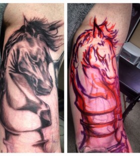 Black and red horses chess tattoo
