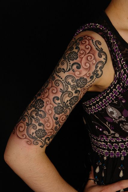 Black and red lace tattoo
