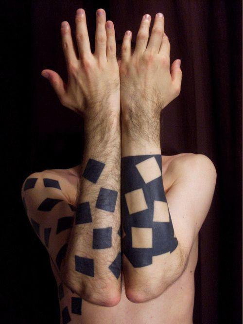 Black and white geometric tattoo