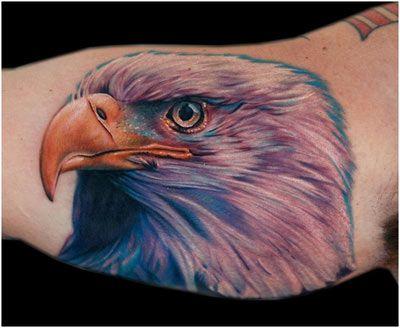 Black colorful eagle tattoo