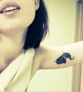 Black elephant origami tattoo