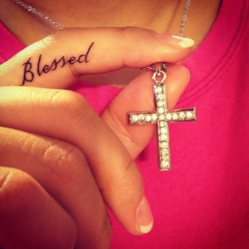 Blessed fingers tattoo