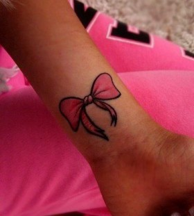 Bow pink tattoo