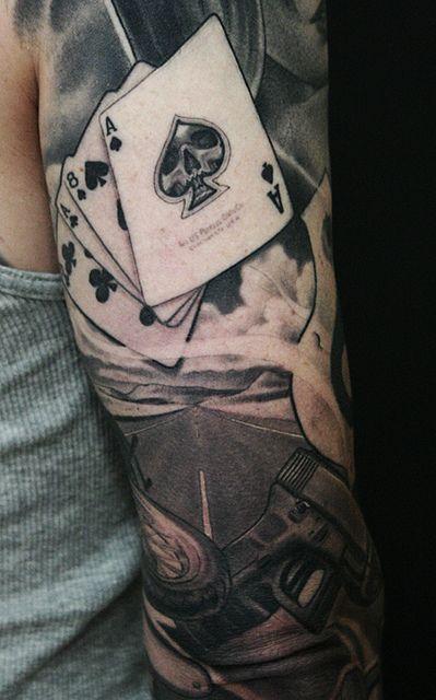 Cards tattoo by James Spencer Briggs