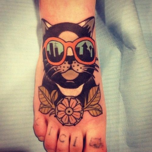 Cat tattoo by Aivaras Lee