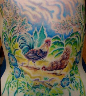 Chicken farm tattoo by Sean Ambrose