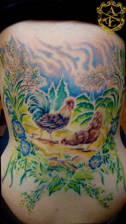 Chicken farm tattoo by Sean Ambrose