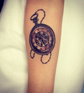 Clock tattoo by Pari Corbitt