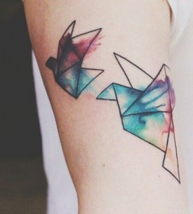 Colorful birds origami tattoo