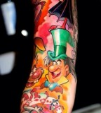 Colorful disney herous tattoo
