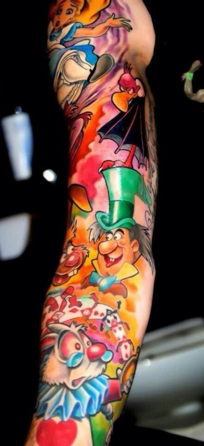 Colorful disney herous tattoo