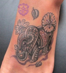 Colorful elephant tattoo by Sean Ambrose