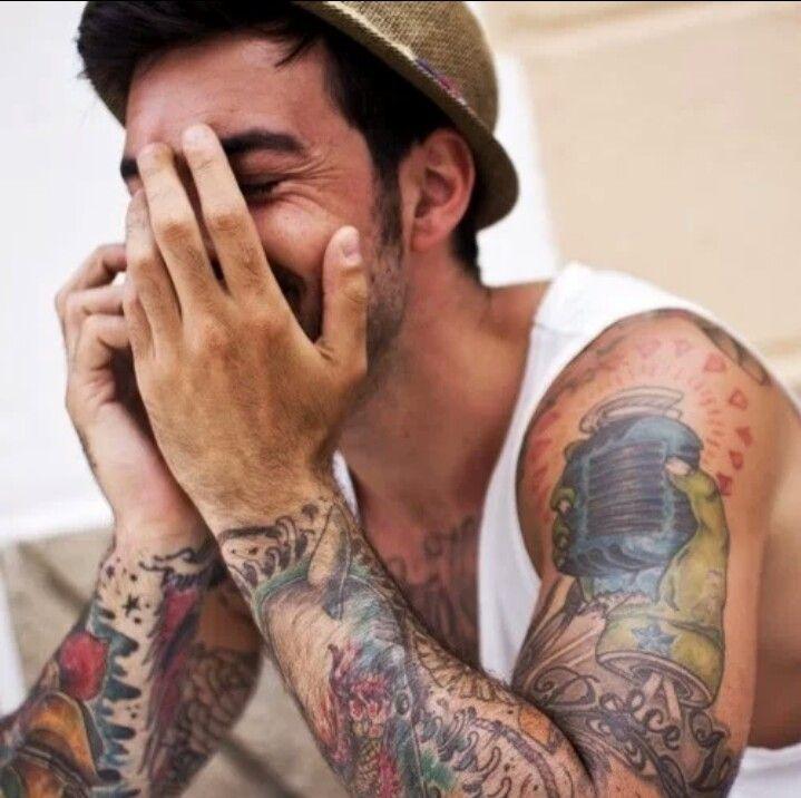 Colorful man tattoos