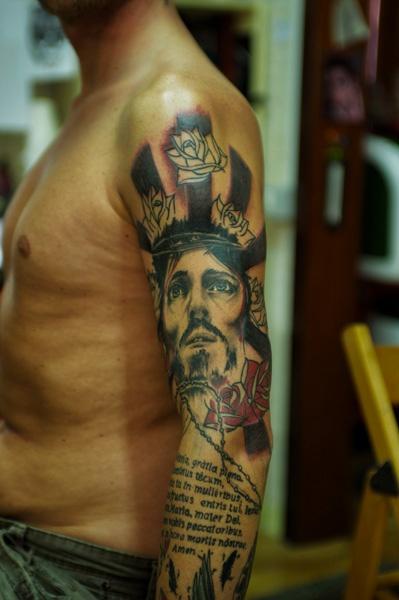 Colorful religious tattoo