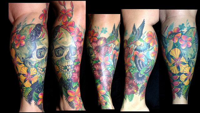 Colorful skull tattoo by Michael Norris