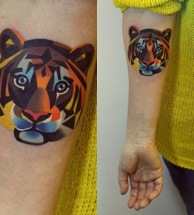 Colorful tiger tattoo
