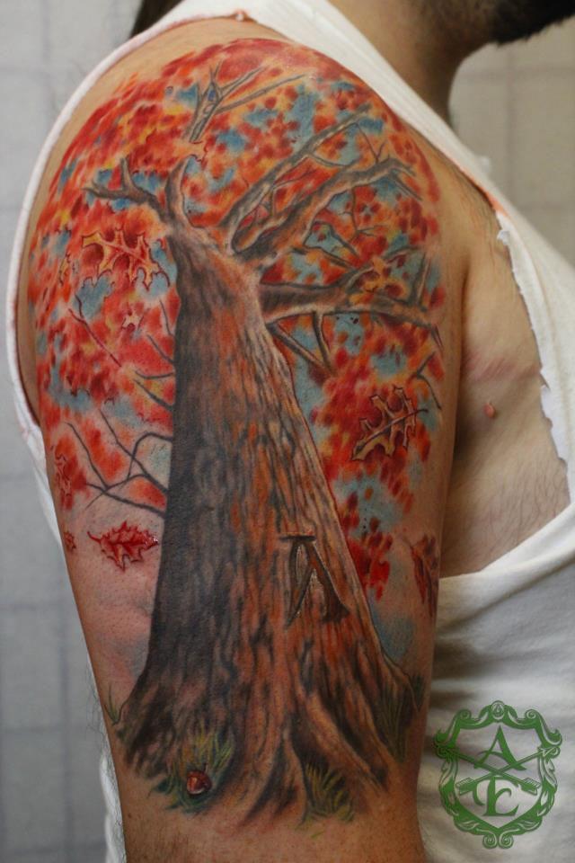 Colorful Tree Tattoo By Sean Ambrose Tattoomagz