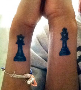 Couple chess tattoo