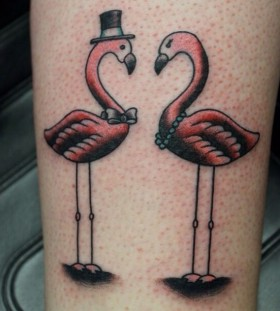 Couple flamingo tattoo