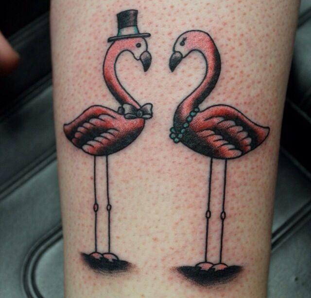 Couple flamingo tattoo