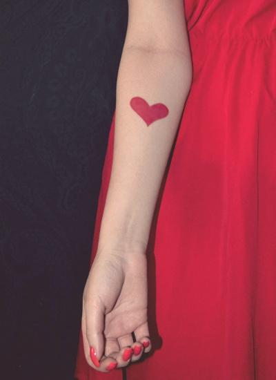 Cute heart red tattoo