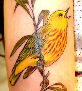 Cute yellow bird tattoo