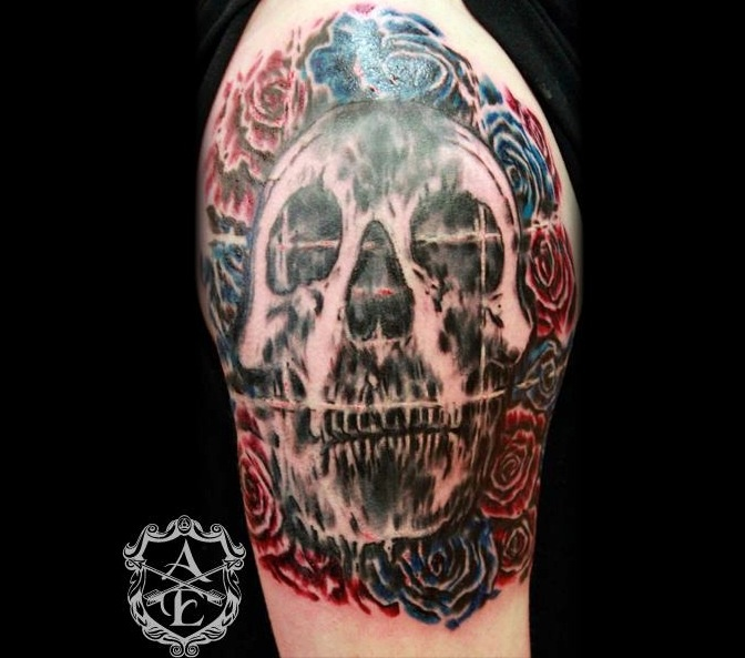 Deftones skull with rose tattoo by Sean Ambrose