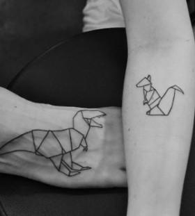 Dinosaurs origami tattoo