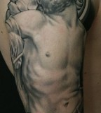 Dying saint tattoo by James Spencer Briggs