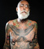 Eagle tatto on old men