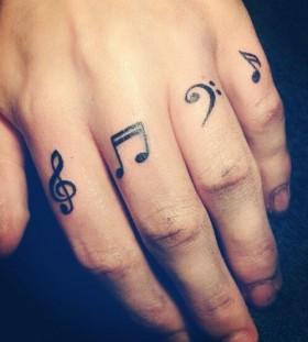 Fingers music tattoo