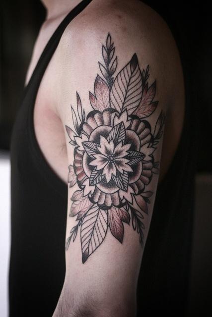Flower mandala geometric tattoo