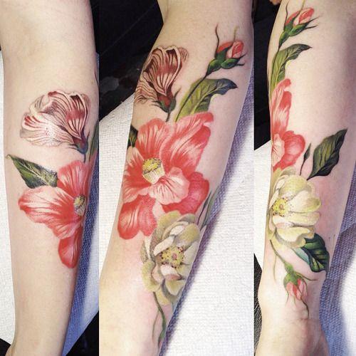 Flowers tattoo by Amanda Wachob