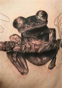 Frog tattoo by Andy Engel