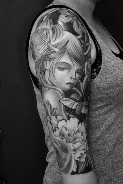 Girl and bee tattoo by James Spencer Briggs
