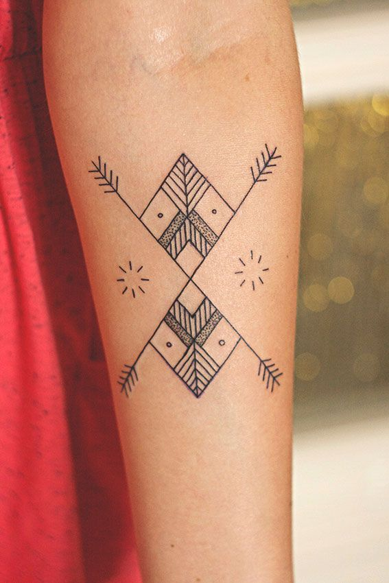 Girl geometric tattoo