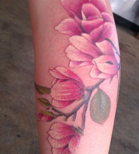 Great flowers pink tattoo