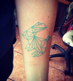 Green bunny origami tattoo