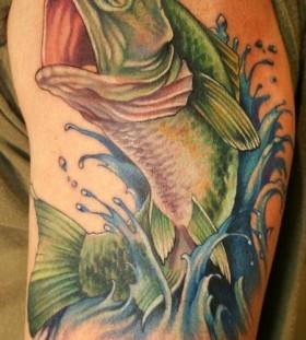 Green fish tattoo