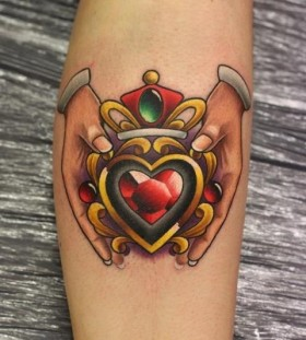 Hands and heart tattoo by Michelle Maddison