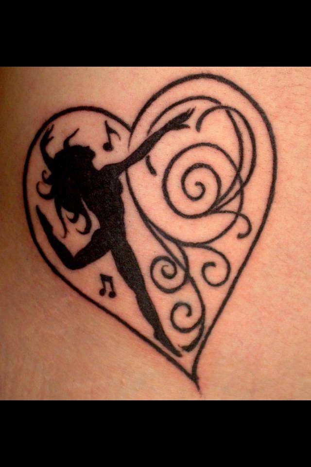 Heart and dancer tattoo