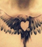 Heart and eagle tattoo
