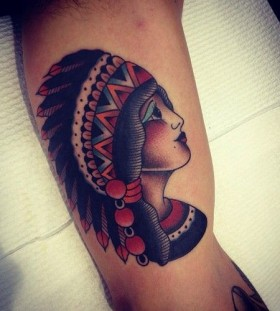 Indian girl tattoo by Kirk Jones