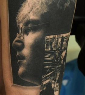 John Lenon portrait tattoo by Andy Engel