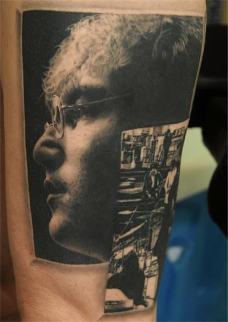 John Lenon portrait tattoo by Andy Engel