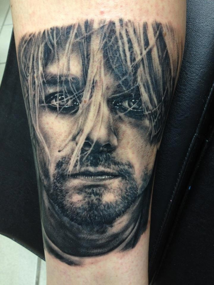 Kurt Cobain tattoo by Andy Engel
