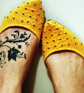 Leg black tattoo