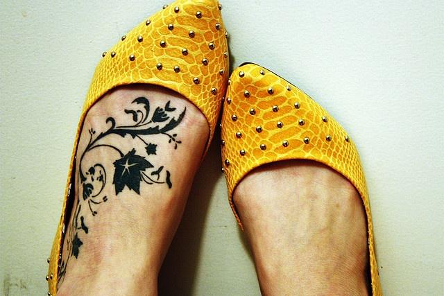 Leg black tattoo