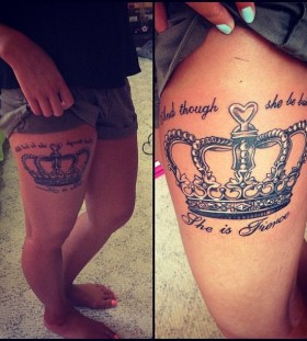 Leg crown tattoo